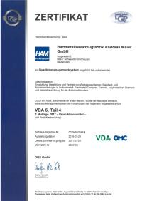 Zertifikat VDA de